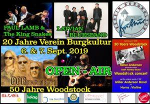 """BURGKULTUR Open-Air; wir feiern """"50 Jahre Woodstock"""" und """"20 Jahre Verein Burgkultur"""""""