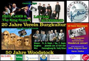 """BURGKULTUR Open-Air; wir feiern """"20 Jahre Verein Burgkultur"""" und """"50 Jahre Woodstock"""""""